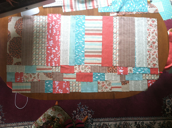 piecing AE quilt